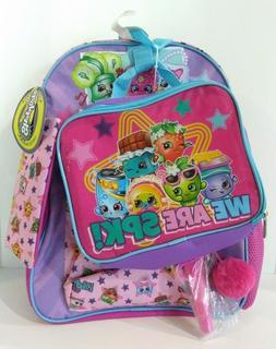 """Shopkins 16"""" Backpack WE ARE SPK! - 7 Piece Set New w/tags"""