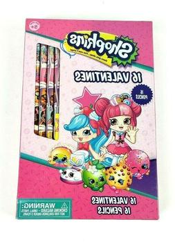 16 Shopkins Valentines Day Pencils & Cards