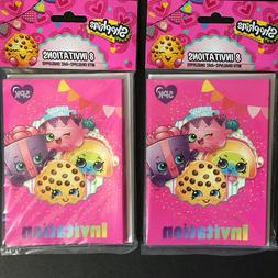 2 Packs of 8 Shopkins Birthday Party Invitations and Envelop