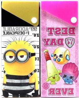 2pk Shopkins Despicable Me 3 Minions Slider Snap Pencil Case