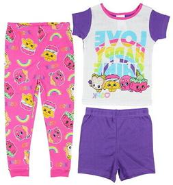 Shopkins 3-Piece Girls Cotton Pajama Set, Love Happy Shine