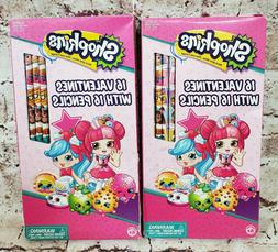 32 Shopkins Valentines Day Cards with 32 Pencils Lot of 2 Pa