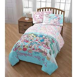 4 Piece Kids Girls Blue Pink Shoppies Comforter Twin Set Sho