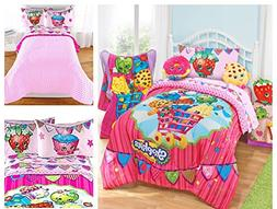 Shopkins Kids 4 Piece Bed in a Bag Twin Bedding Set - Revers