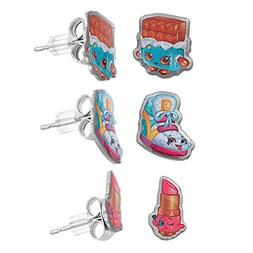 Shopkins Pretend Play Girl's Set of 3 Pierced Earrings - Sne