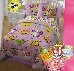 "Shopkins 4pcs Bedding Set Twin Comforter, 64"" x 86"" & Sheet"
