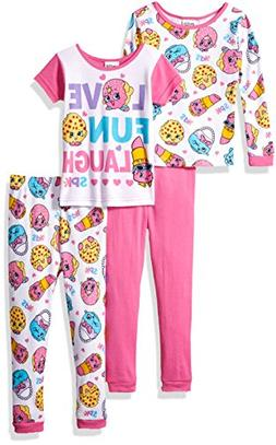 Shopkins Big Girls' Cotton Pajama-4-Piece Set, Pink, 10