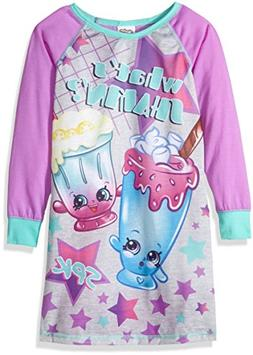 Shopkins Girls' Big Sleep Nightgown, Purple, 8