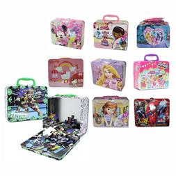 Children's Metal Tin Lunch Box Carry All Gift Bag Case w/ Pu