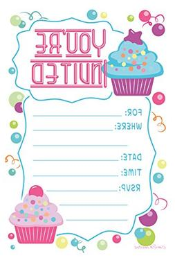 Cupcake Theme Birthday Party Invitations - Fill In Style  Wi