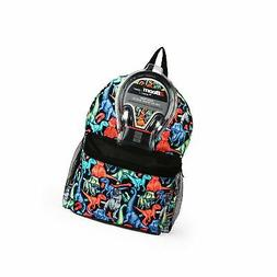 "Dino Print 17"" Kids' Backpack with Headphones"