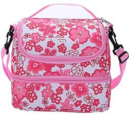 MIER Double Decker Insulated Lunch Box Pink Soft Cooler Bag