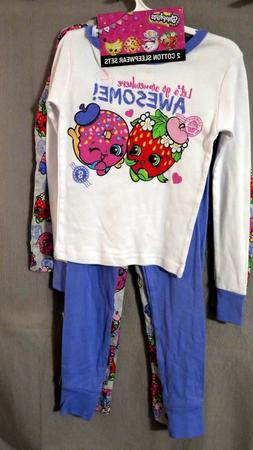 GIRL'S SHOPKINS 4 Piece Cotton Sleepwear Pajama Sleep Set Si