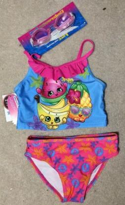 Shopkins Girls 2 Piece Pink/Blue Bathing Suit w/ Bonus Googl