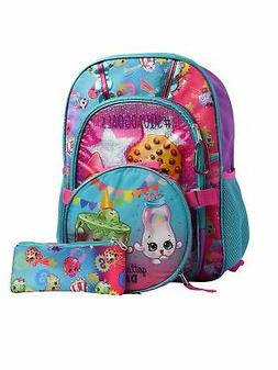 "Girls Shopkins Backpack 16"" w/ Insulated Lunch Bag, Pencil C"