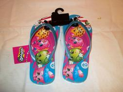 NWT Blue Shopkins Girls Beach Flip Flops Sizes 11 12 13 1 2 3 4 5