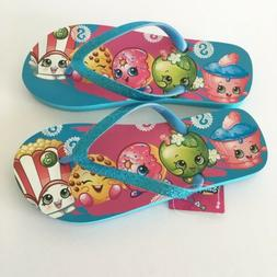 Shopkins Girl's Flip Flops Sandals Blue Sparkle Glitter Si