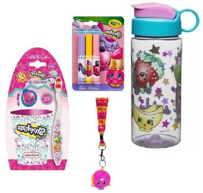 SHOPKINS 4 PC LOT -WATER BOTTLE ,CRAYOLA MARKERS, LANYARD  A