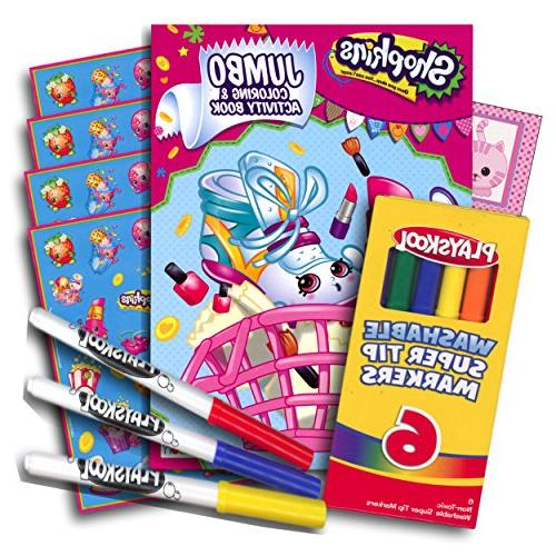 Shopkins Coloring Book with Stickers and Washable Markers ~