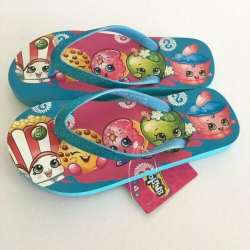 girls flip flops sandals blue sparkle size