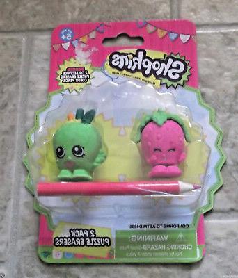 shopkins collectible puzzle erasers with pencil strawberryki