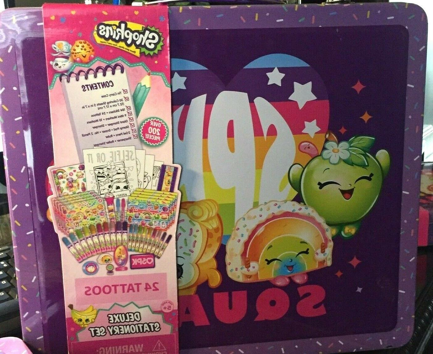 shopkins deluxe stationary set with tin carrying