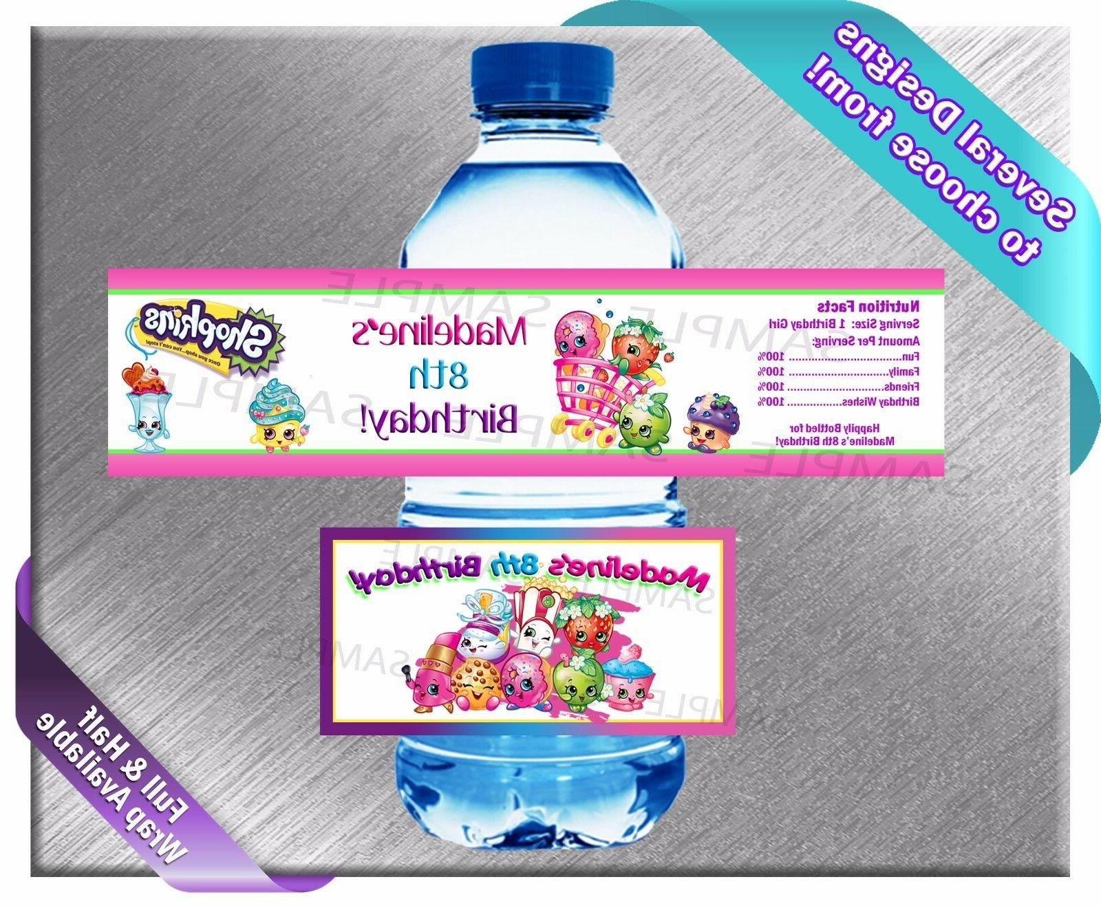 shopkins water bottle labels birthday party baby