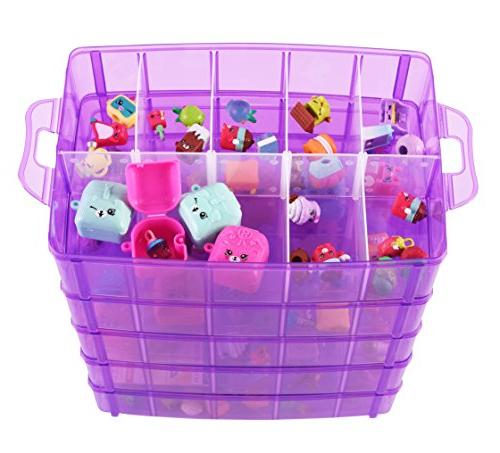 LifeSmart USA Stackable Storage Container Purple 50 Adjustable More Cases Dimensions - Shopkins - Littlest Pet - and Crafts More!