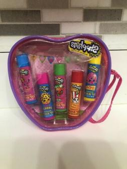Shopkins Lip Balm 5 Scented Tubes Gift Set in a Reusable Wri
