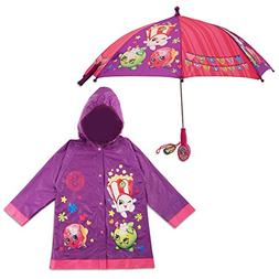 Shopkins Little Girls Character Slicker and Umbrella Rainwea