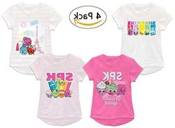 Shopkins Little Girls' Multi-Pack Tees, 4 Pack Heather Light