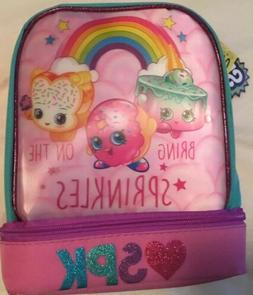 Shopkins Lunch Box Bag W/ Dual Compartment Insulated New wit
