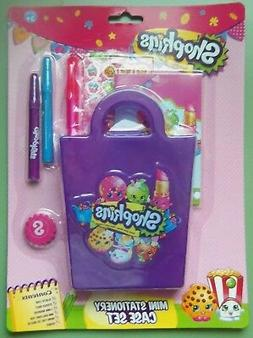 SHOPKINS MINI STATIONERY SET W/CASE, ERASER, 2-MARKERS, PAD,