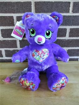 """New Build a Bear Shopkins Bear16"""" Purple-Stitched Chest Toy"""