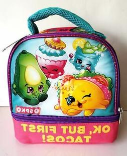New Shopkins Dual Compartent Insulated Lunch Box Bag