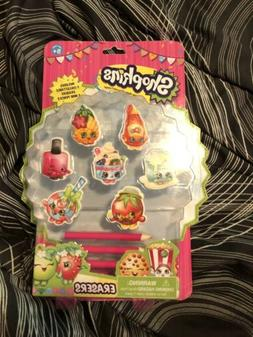 NEW Shopkins Eraser Pack *Includes 7 Erasers and 3 Pencils*