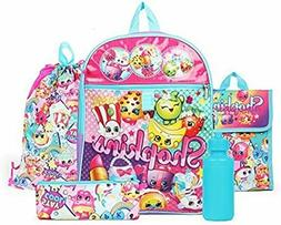 "New Shopkins Rainbow Backpack 16"" Back to School 5 Piece Ess"