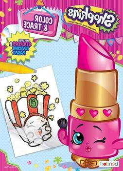 NEW Shopkins 48-Page Color & Trace Activity Book with Sticke