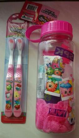 NEW with Tag SHOPKINS PINK WATER BOTTLE & BATH SET + 2 TOOTH