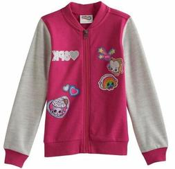 NWT Shopkins Girls Bomber Jacket SIZE 4 Pink Gray Zipper Fro