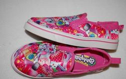 NWT Girls Shoes Shopkins Pink Canvas Slip On Casual Boat Dec