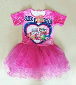 NWT Shopkins Sparkly Pink Tutu Birthday Girls print Party Dr