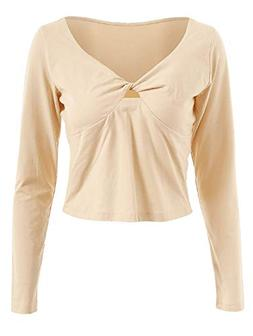 KCatsy Womens Patchwork Twist Long Sleeve Slim fit Hollow Ou