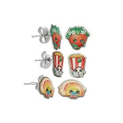 Shopkins Pretend Play Girl's Set of 3 Pierced Earrings - Rai