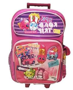 "Shopkins 16"" Large Roller Backpack Pink Rolling Backpack NEW"