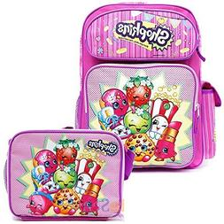 "Shopkins School Backpack Set 16"" Large Backpack with Lunch B"