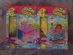 Set of 2 Shopkins Kinstructions Checkout Lane & Shopping Car