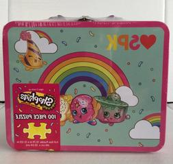 shopkins 100 piece puzzle in pink lunchbox
