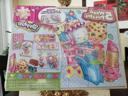 Shopkins 5 wood Puzzles 5 Pack PuzzlesWood Tray Storage Incl
