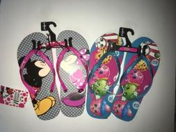 Shopkins And Disney Minnie Mouse Flip Flops Lot Of 2 Girls Y